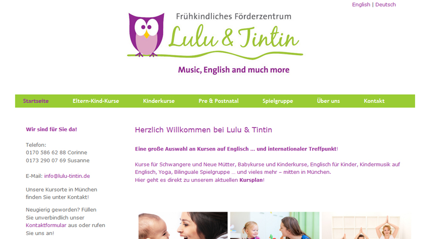 Lulu & Tintin: Layout-Entwicklung der Website